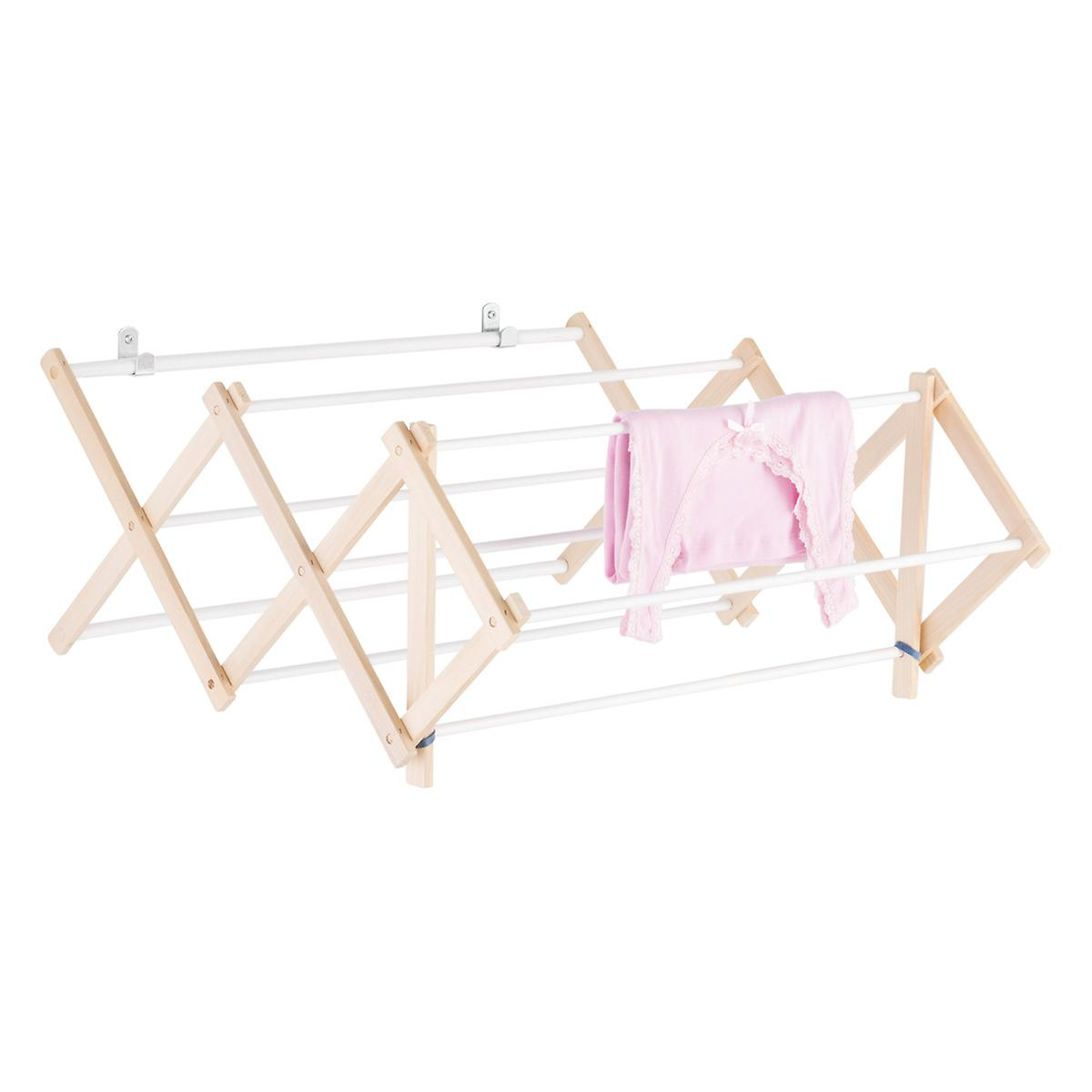 9 Dowel Wooden Wall Mounted Floor Clothes Drying Rack