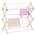 9-Dowel Wooden Wall-Mounted & Floor Clothes Drying Rack