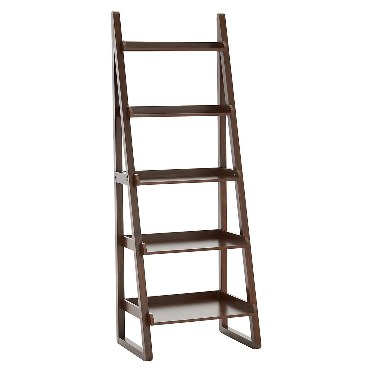 walnut encore ladder shelf the container store