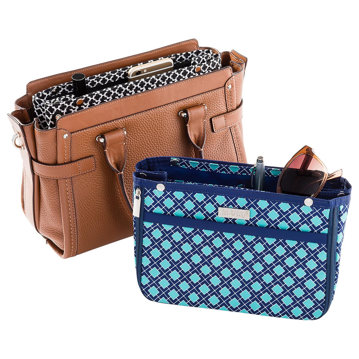 In Bag Navy Amp Aqua Tile Purse Organizer The Container Store