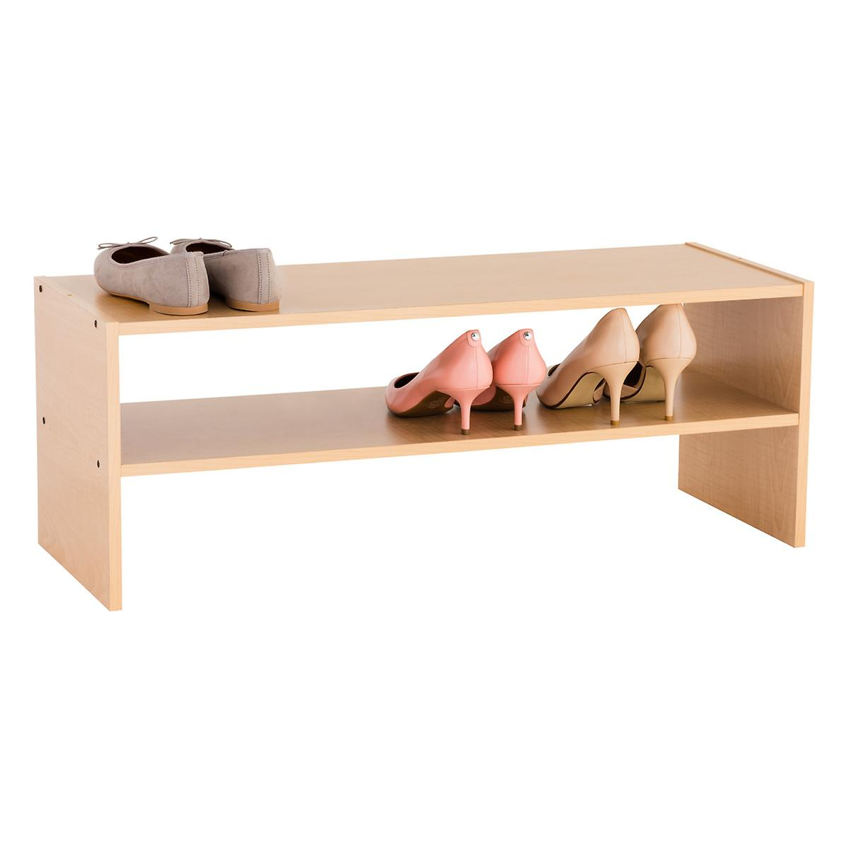 Natural 2-Shelf Shoe Stacker