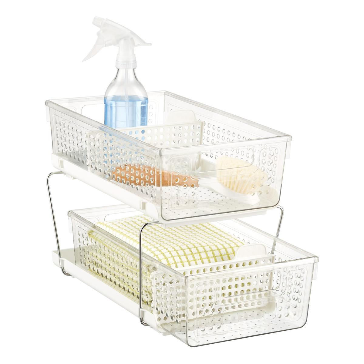 madesmart White 2 Tier Pull Out Cabinet Organizer