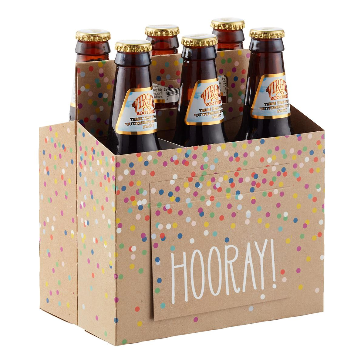 Hooray Kraft Six-Pack Carrier with Card