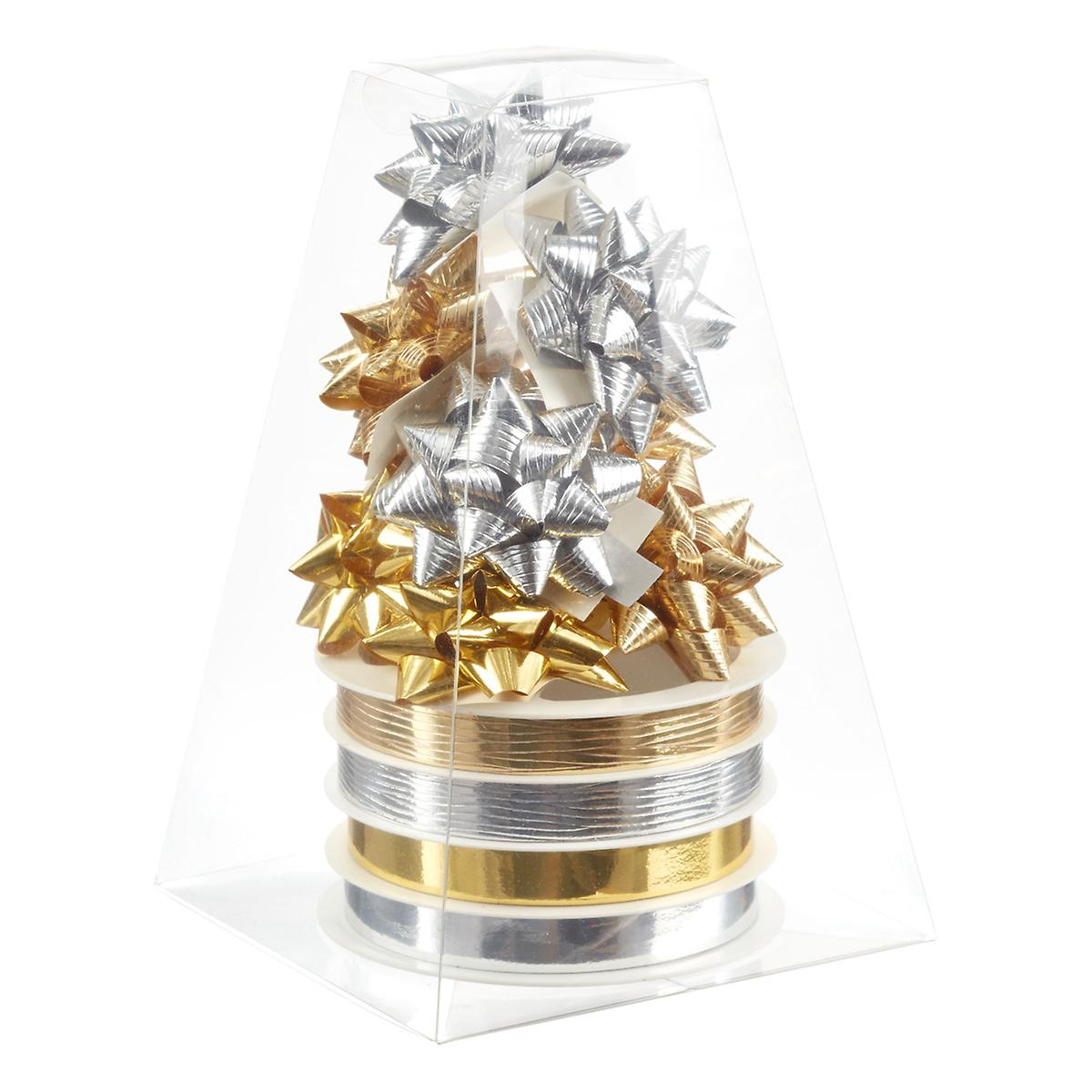 Gold & Silver Bow & Ribbon Tower