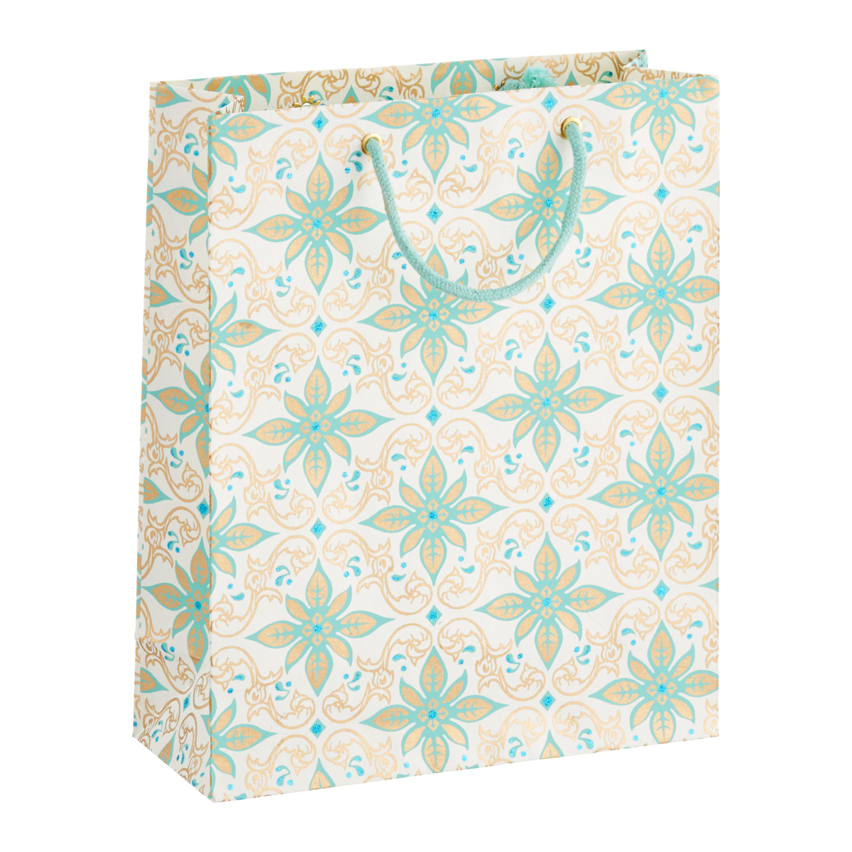 Vivid Wrap Large Gold & Aqua Scroll Recycled Gift Bag
