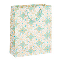 Large Gold & Aqua Scroll Recycled Tote