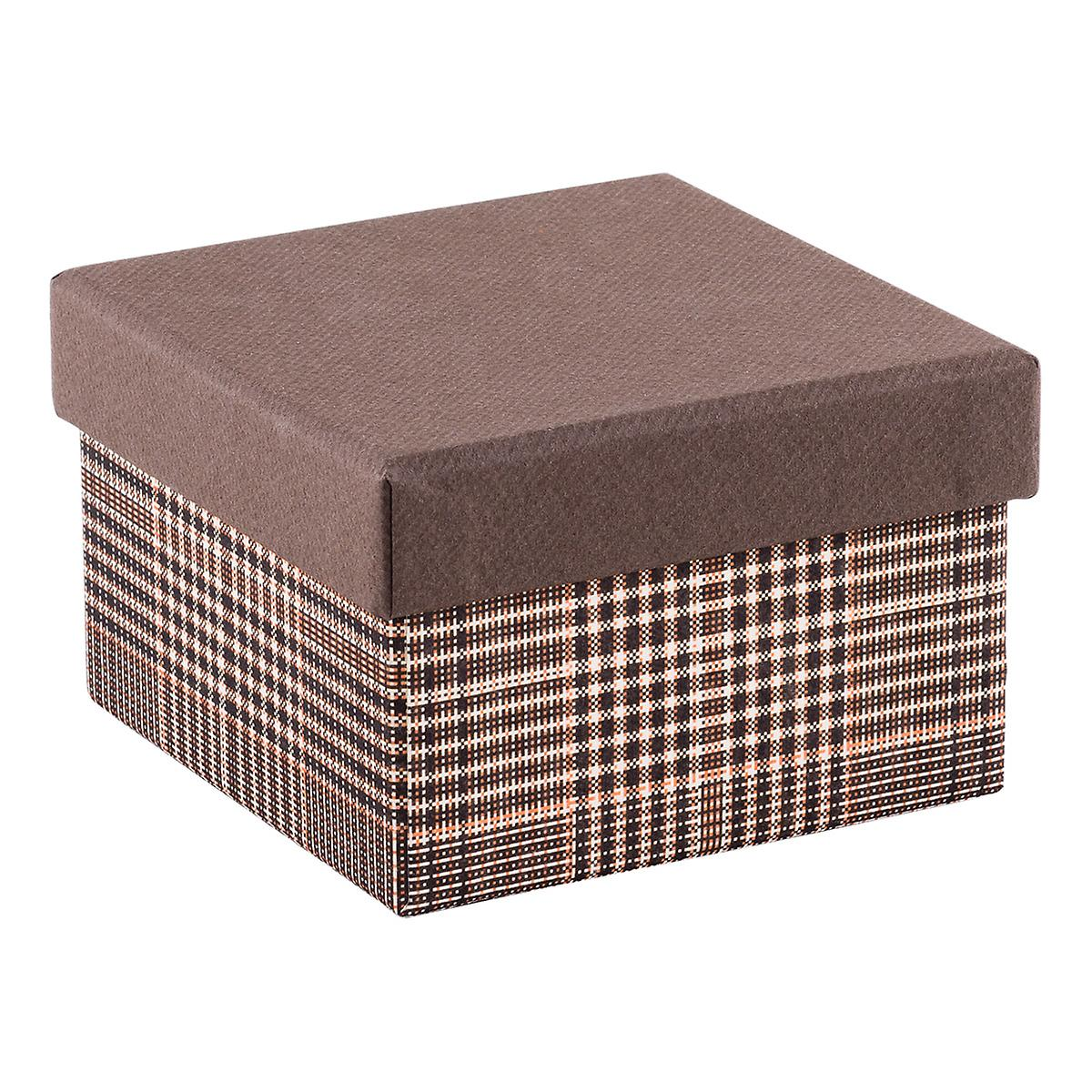 Square Tweed Box with Brown Lid