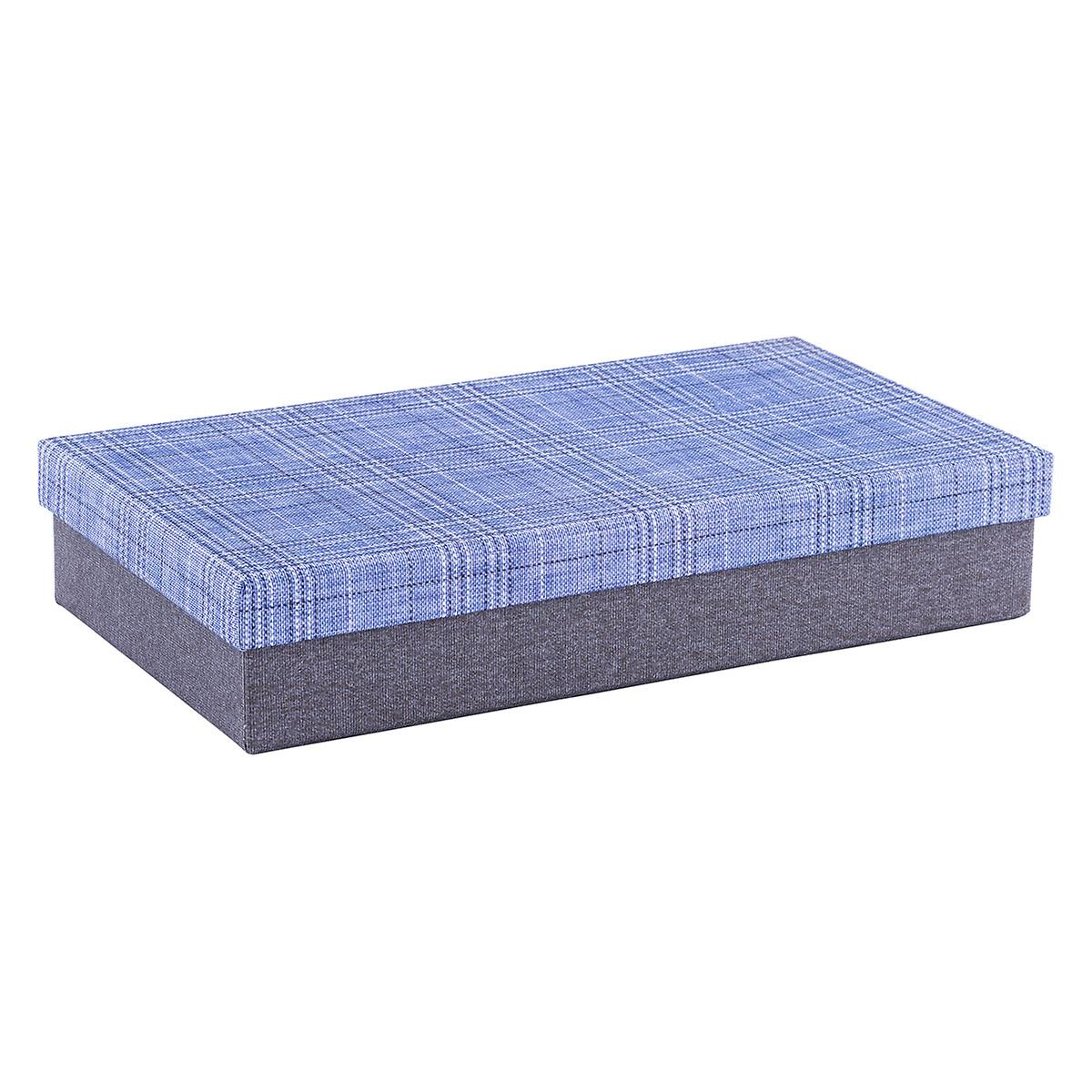 Rectangular Grey Box with Blue Plaid Lid