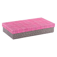 Rectangular Tweed Box with Pink Plaid Lid