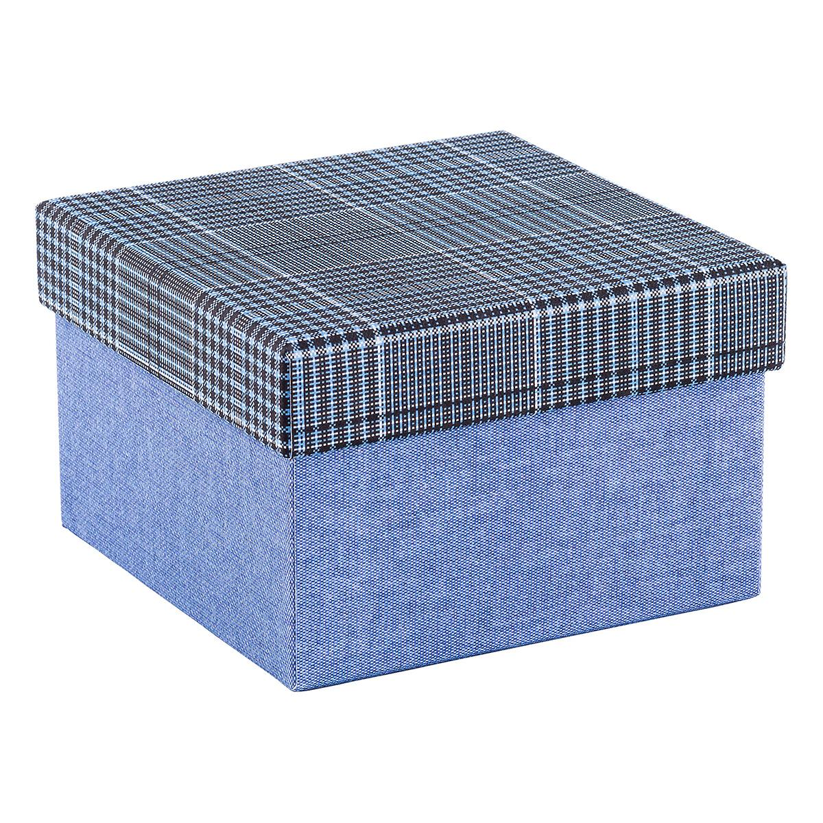 square blue box with plaid lid the container store. Black Bedroom Furniture Sets. Home Design Ideas