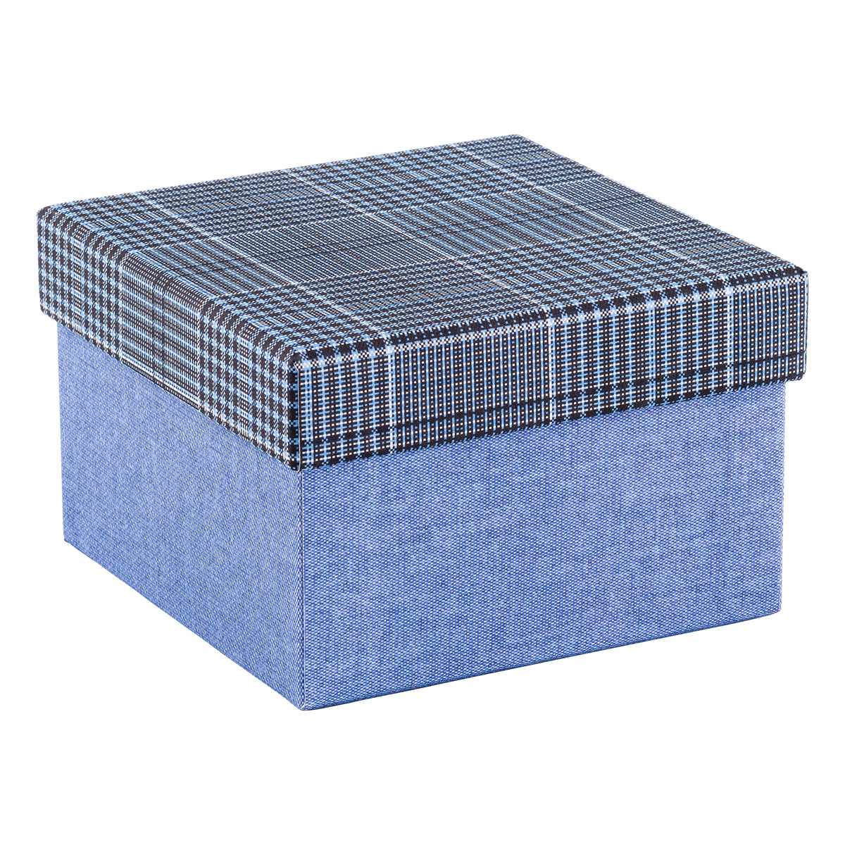 Square Blue Box With Plaid Lid