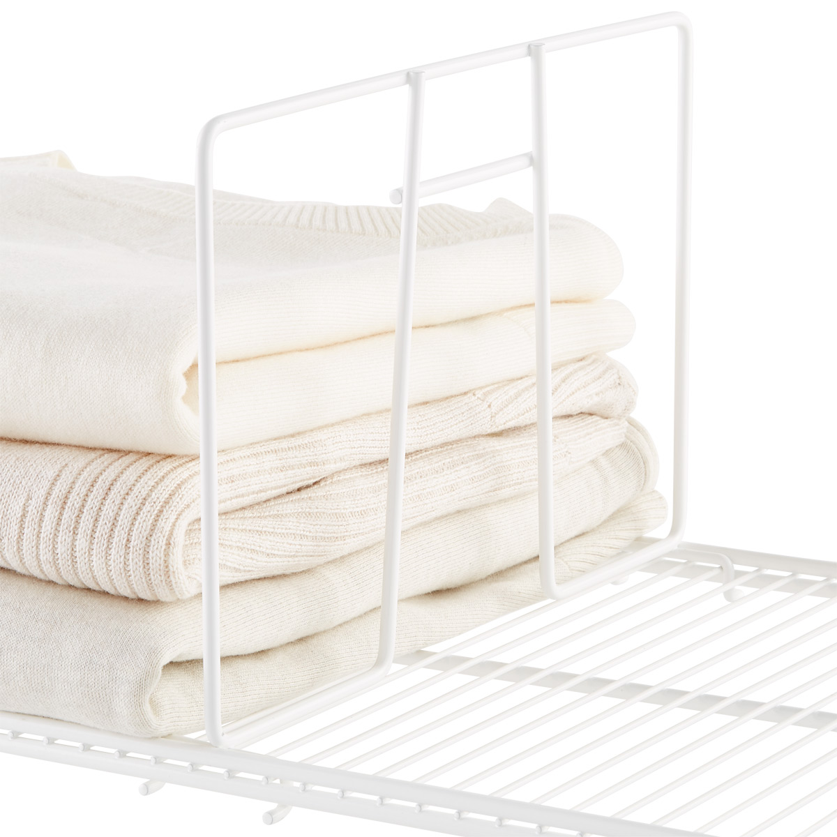 White Elfa Ventilated Wire Shelf Dividers