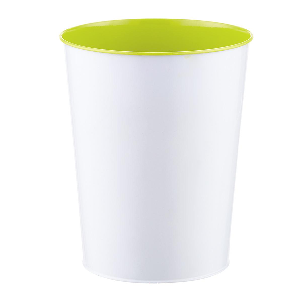 Three by Three Lime Green Vivid Metal Wastebasket