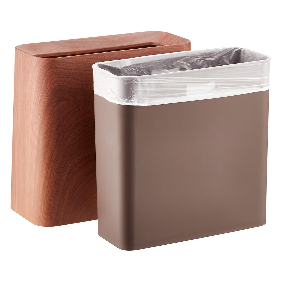 rosewood rectangle tubelor high grande trash can the container store. Black Bedroom Furniture Sets. Home Design Ideas