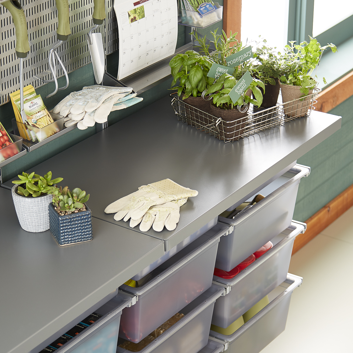 Grey elfa utility Work Surface