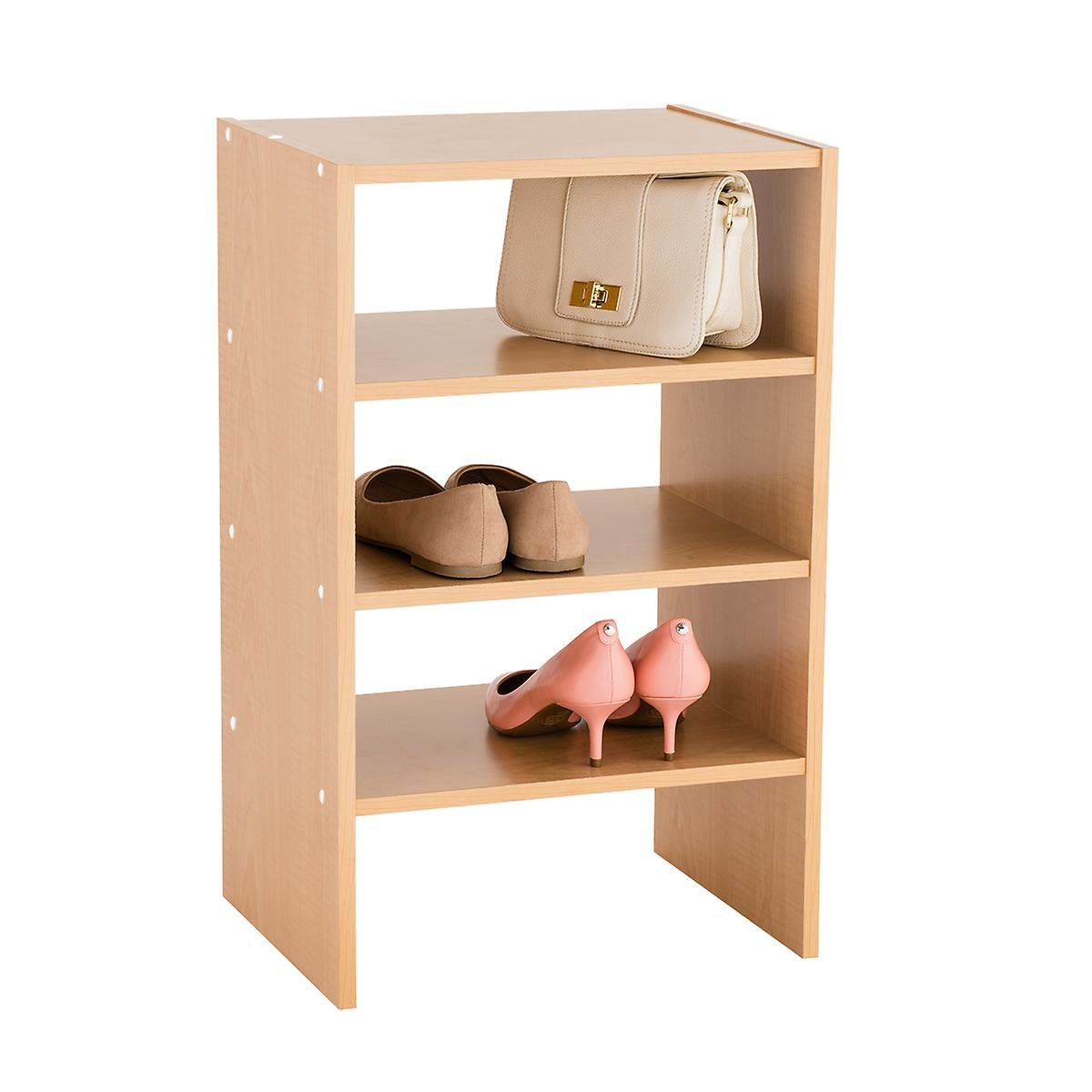 Natural 4-Shelf Shoe Stacker