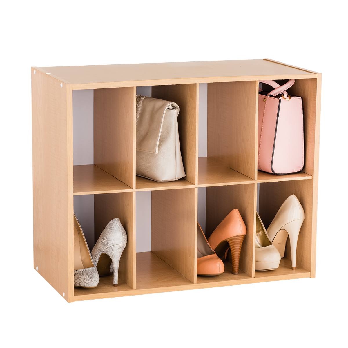 Natural 8-Pair Shoe & Purse Organizer