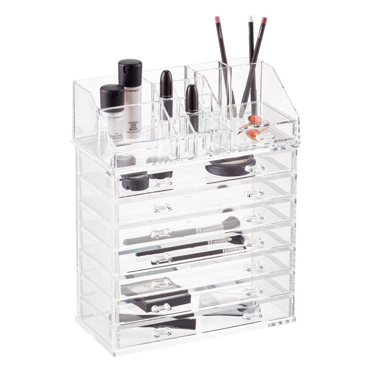 Makeup Organizer   Acrylic Makeup Organizer With Drawer | The Container  Store