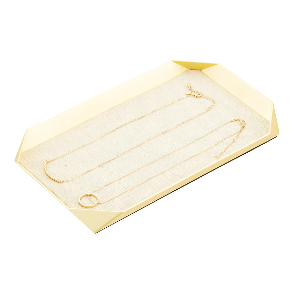 Umbra Gold Glamour Jewelry Tray with Linen Base