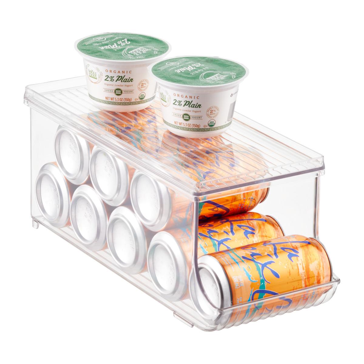 iDesign Linus Fridge Bins Soda Can Organizer with Shelf