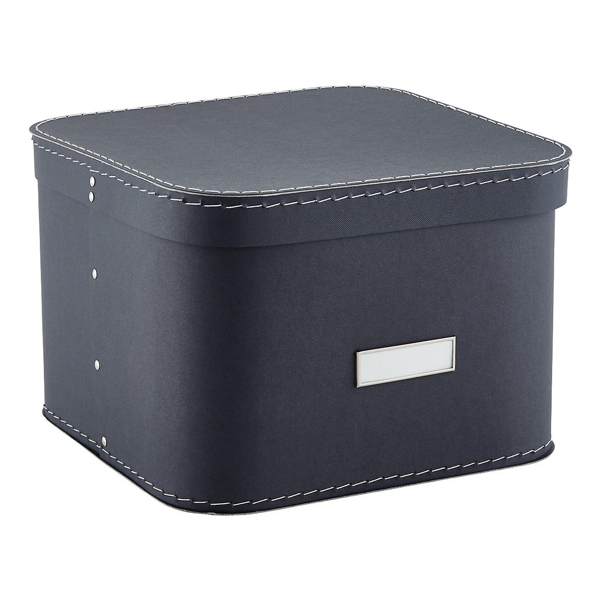 graphite oskar storage box with lid the container store. Black Bedroom Furniture Sets. Home Design Ideas