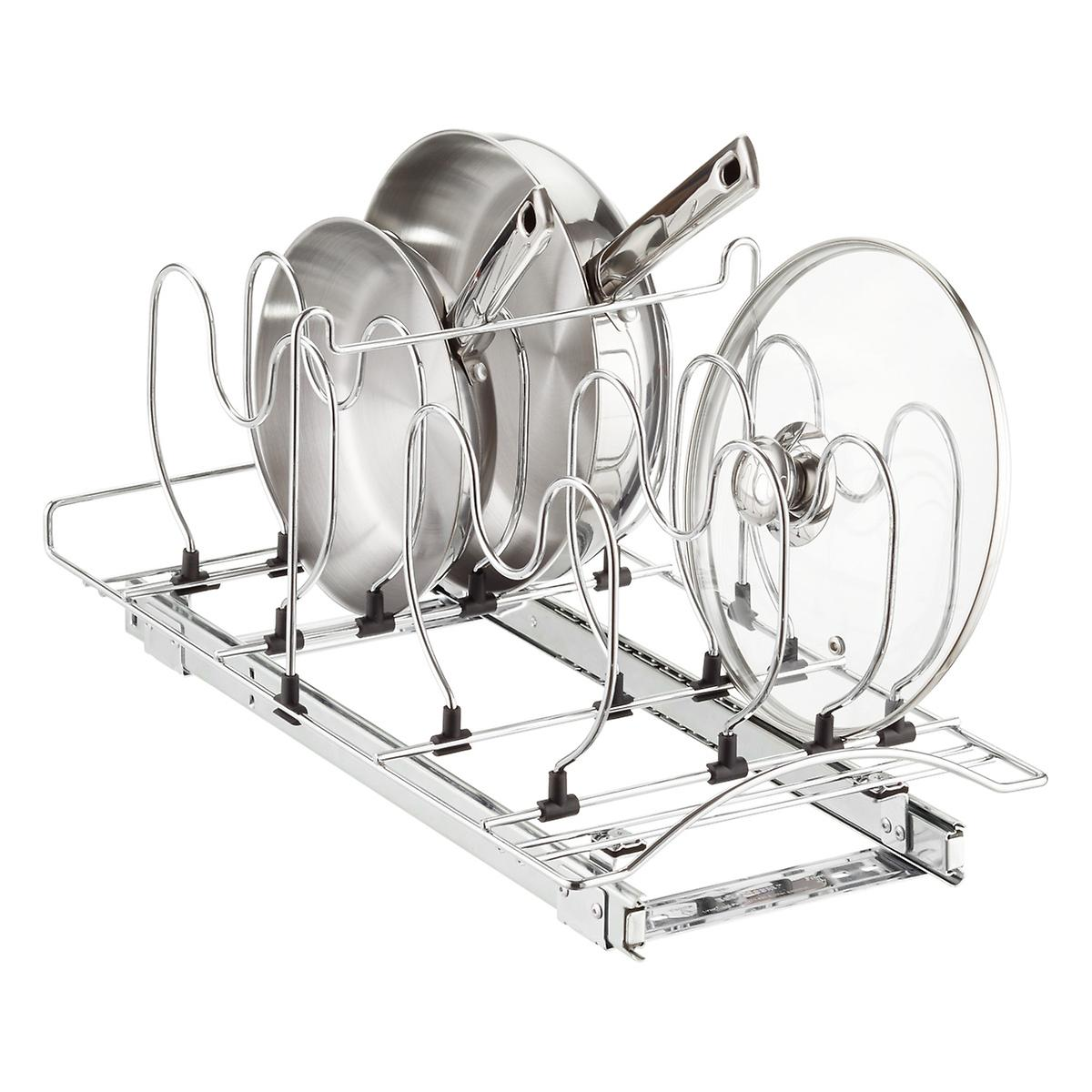 Lynk roll out under sink cabinet organizer pull out two tier sliding - Lynk 21 Chrome Pull Out Cookware Organizer