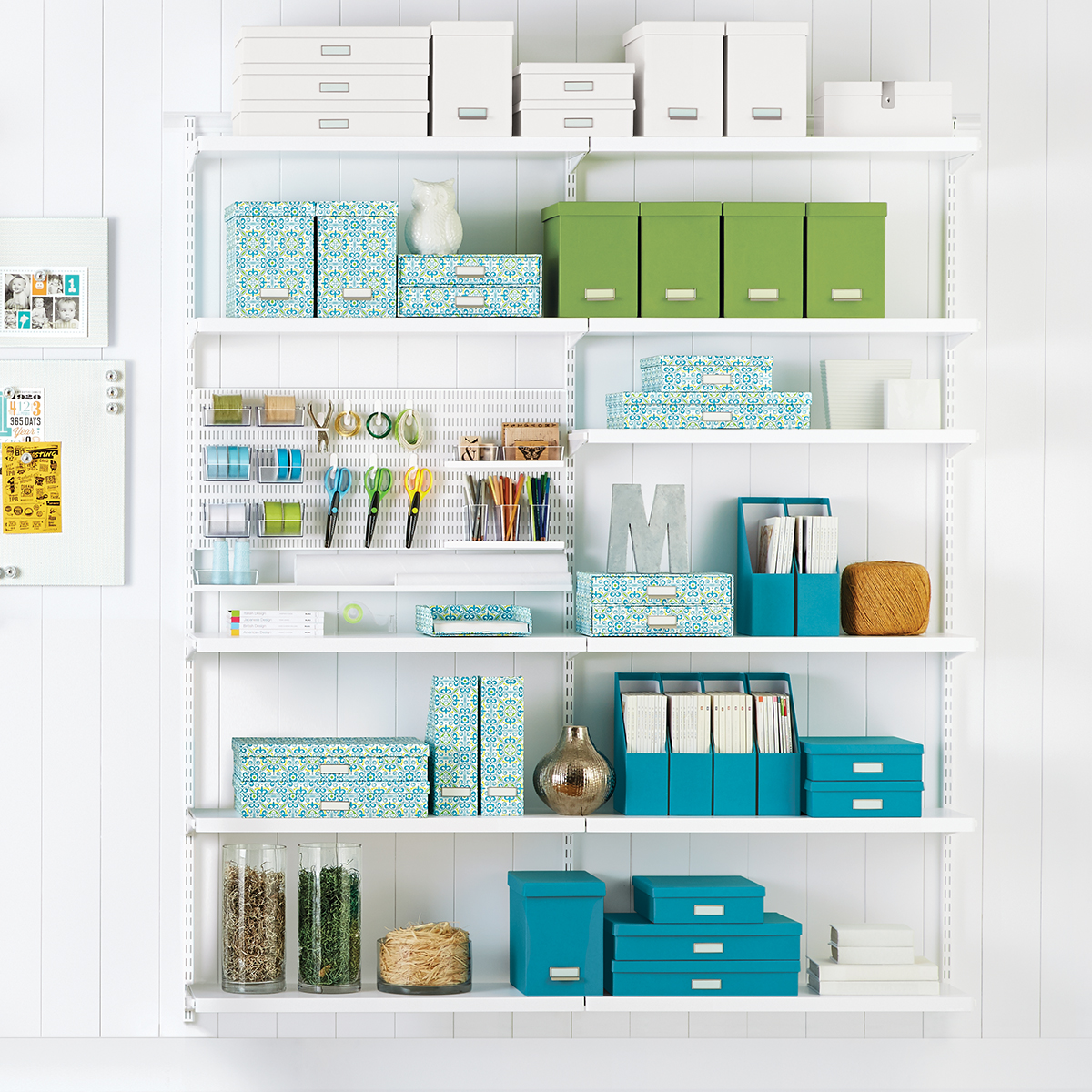 White Elfa Décor Craft Room Shelving