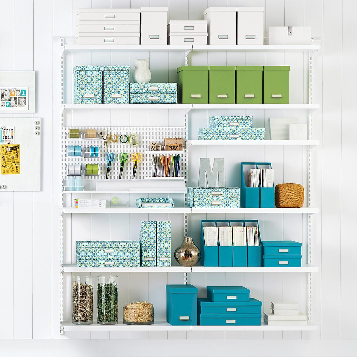 White Elfa Craft Room Shelving