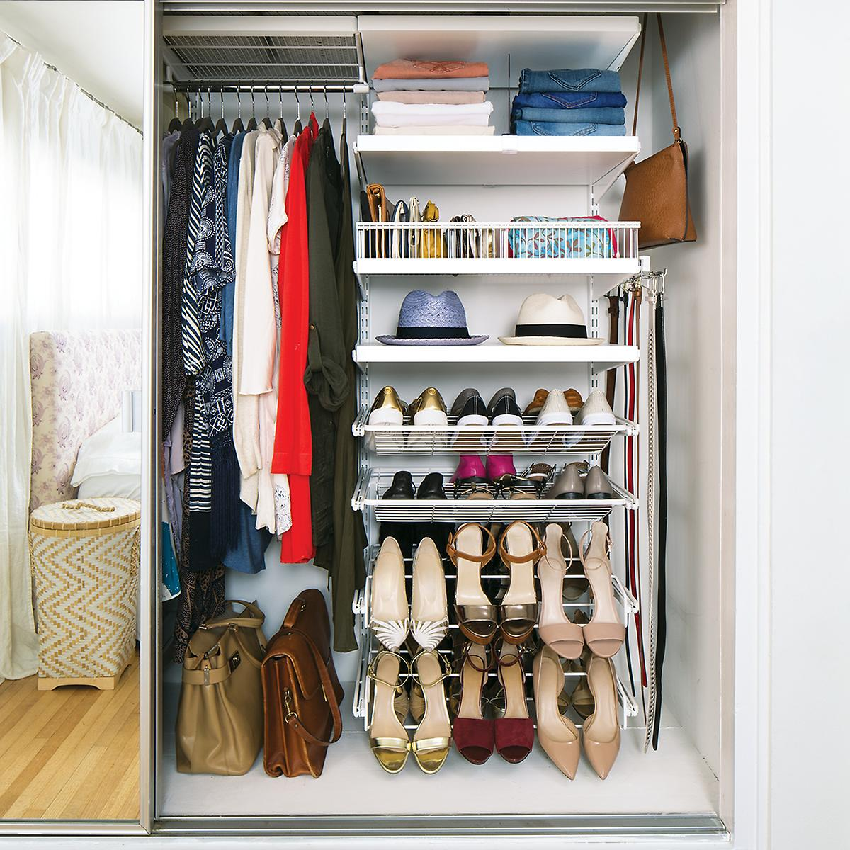 White elfa d cor reach in closet the container store for Decor systems
