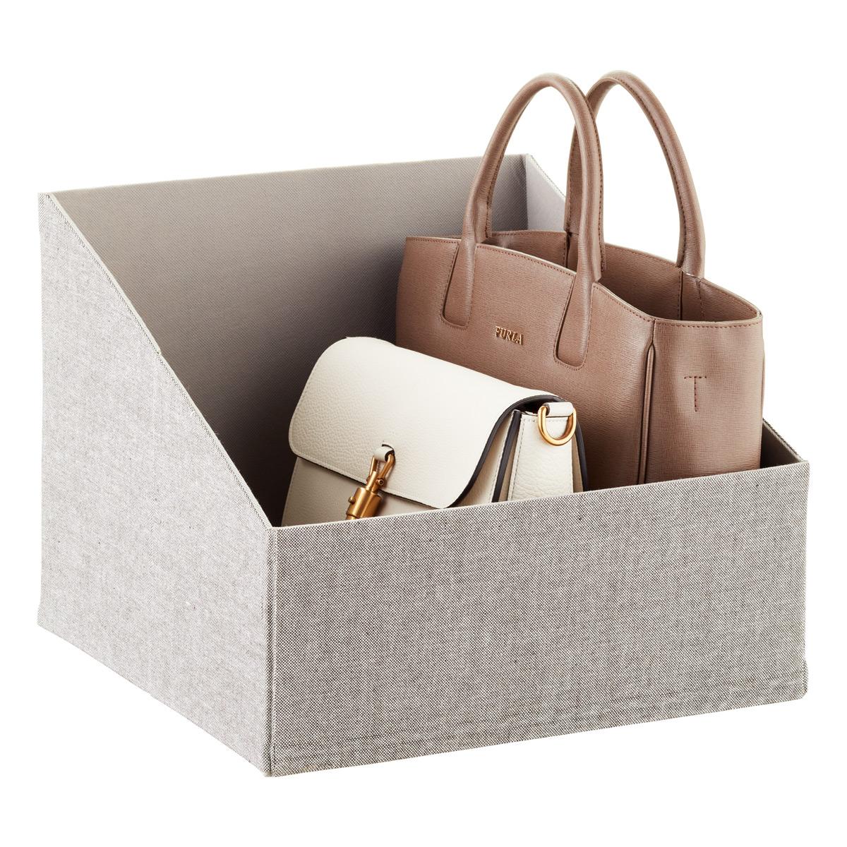How To Maximize A Small Closet. Handbag Storage Bin Grey