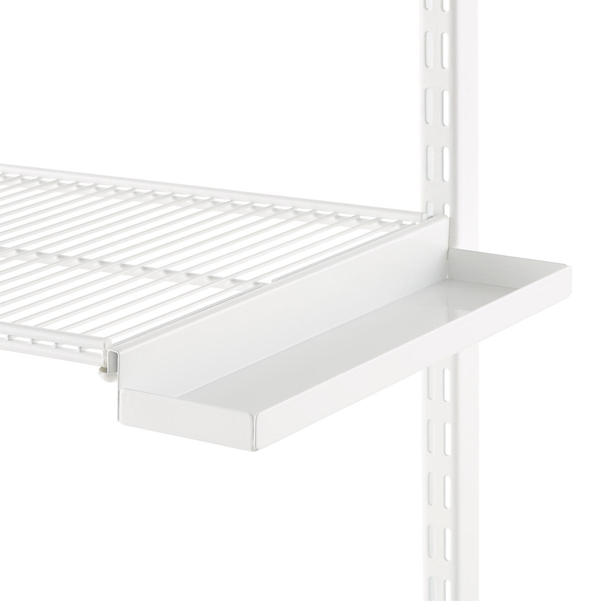 White elfa Ventilated Wire Shelf Bracket Trays