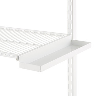 White elfa Ventilated Wire Shelf Bracket Trays