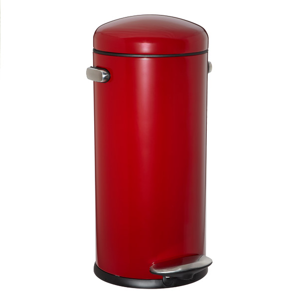 simplehuman red 8 gal retro step trash can the container store. Black Bedroom Furniture Sets. Home Design Ideas