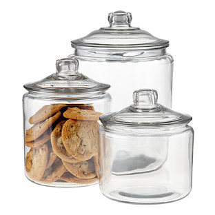 b86507660f3 Anchor Hocking Glass Canisters with Glass Lids