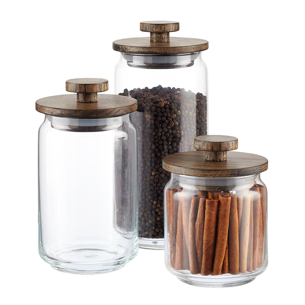 Artisan Glass Canisters with Walnut Lids ...