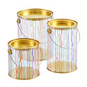 Stripe Paint Cans With Gold Lids
