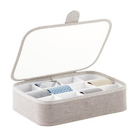 Grey 12-Section Drawer Organizer with Lid