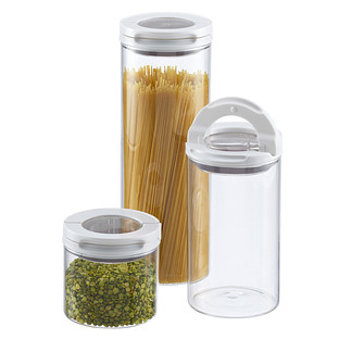 Narrow Stackable Canisters With Lime Lids The Container
