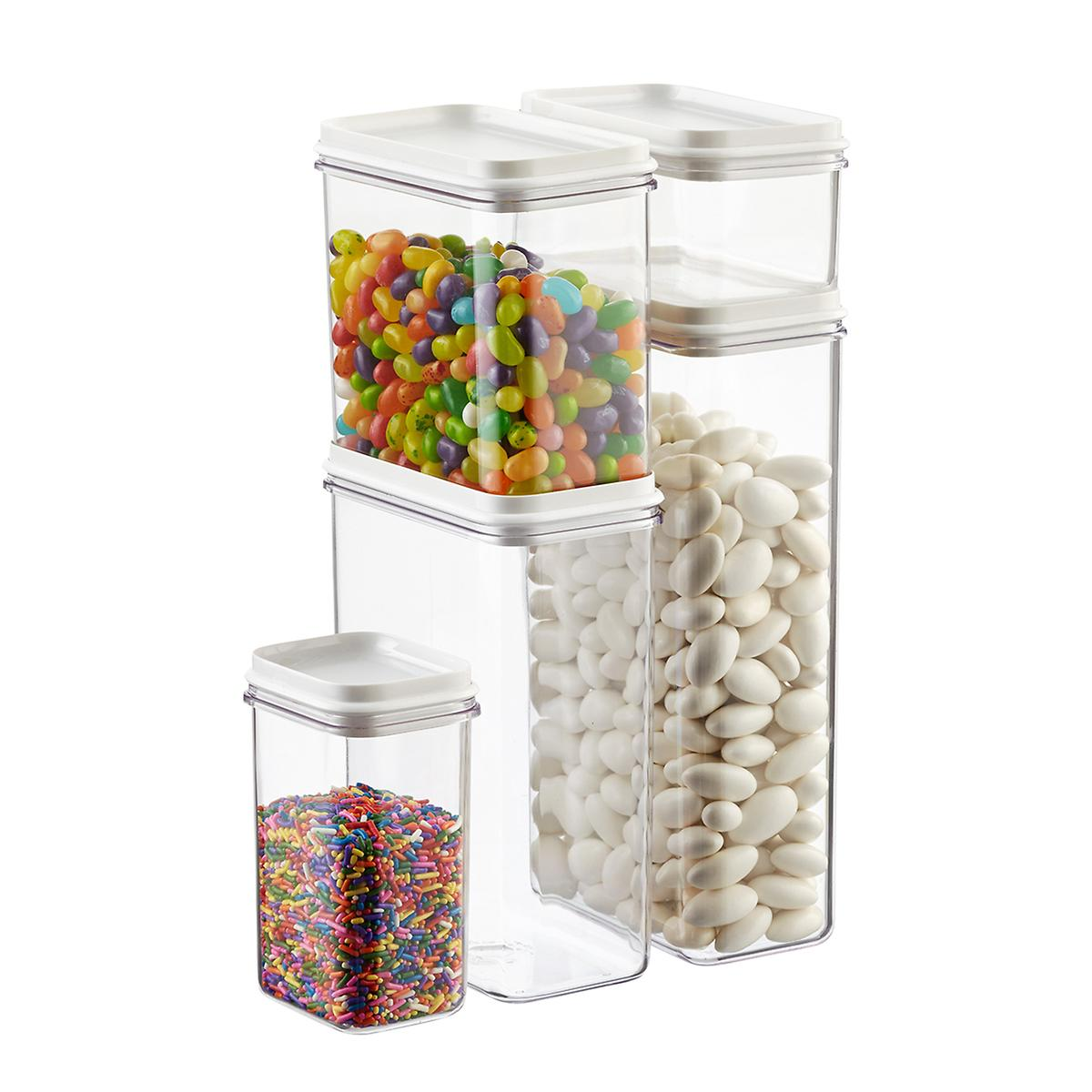 narrow stackable canisters with white lids the container store. Black Bedroom Furniture Sets. Home Design Ideas