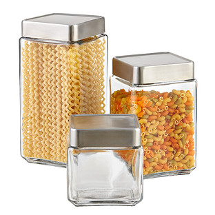 Anchor Hocking Glass & Brushed Aluminum Canisters