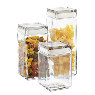 ca9193c238b Anchor Hocking Stackable Square Glass Canisters