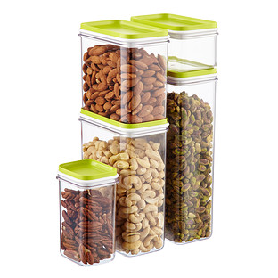 Narrow Stackable Canisters with Lime Lids
