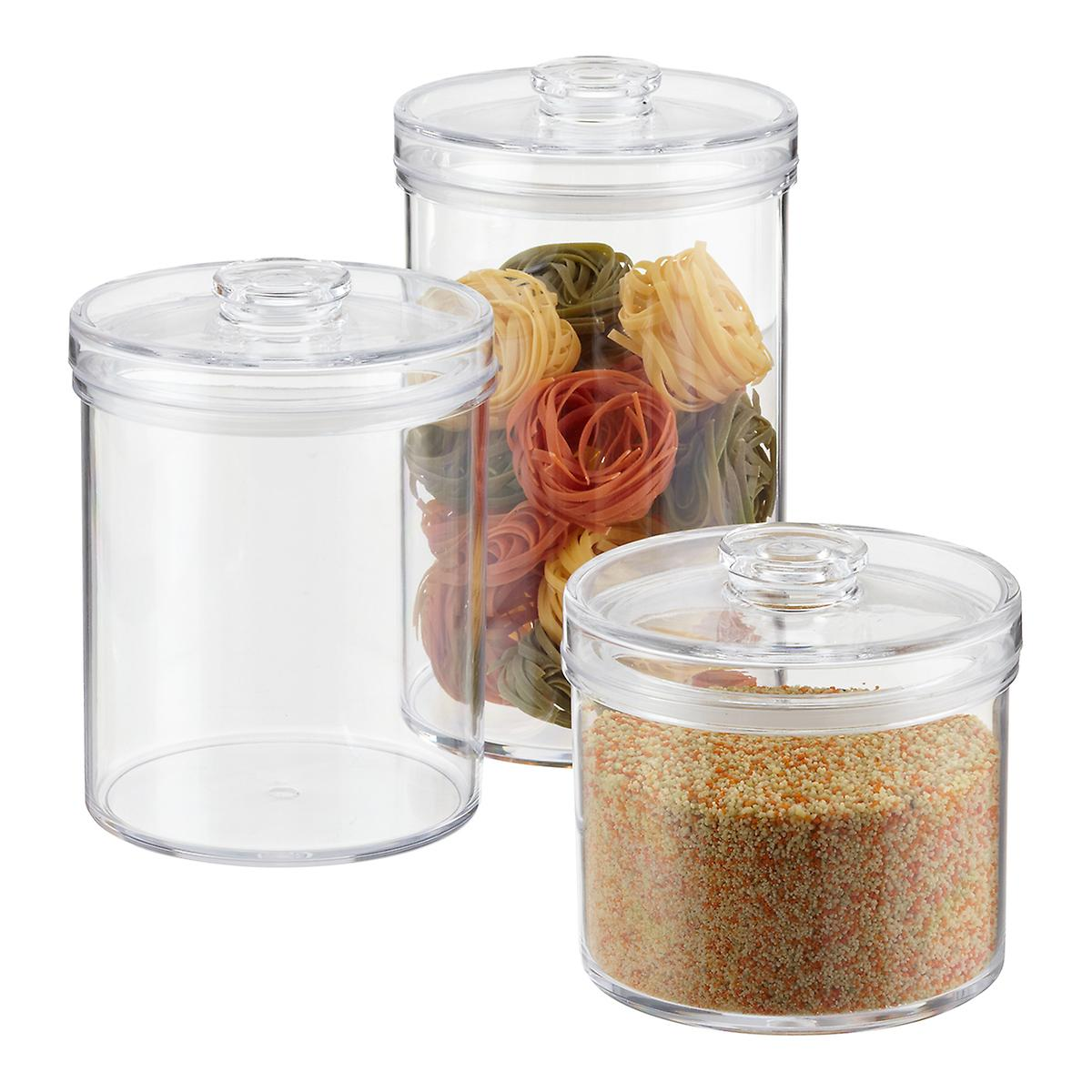 Acrylic canisters clear round acrylic canisters the for Clear bathroom containers