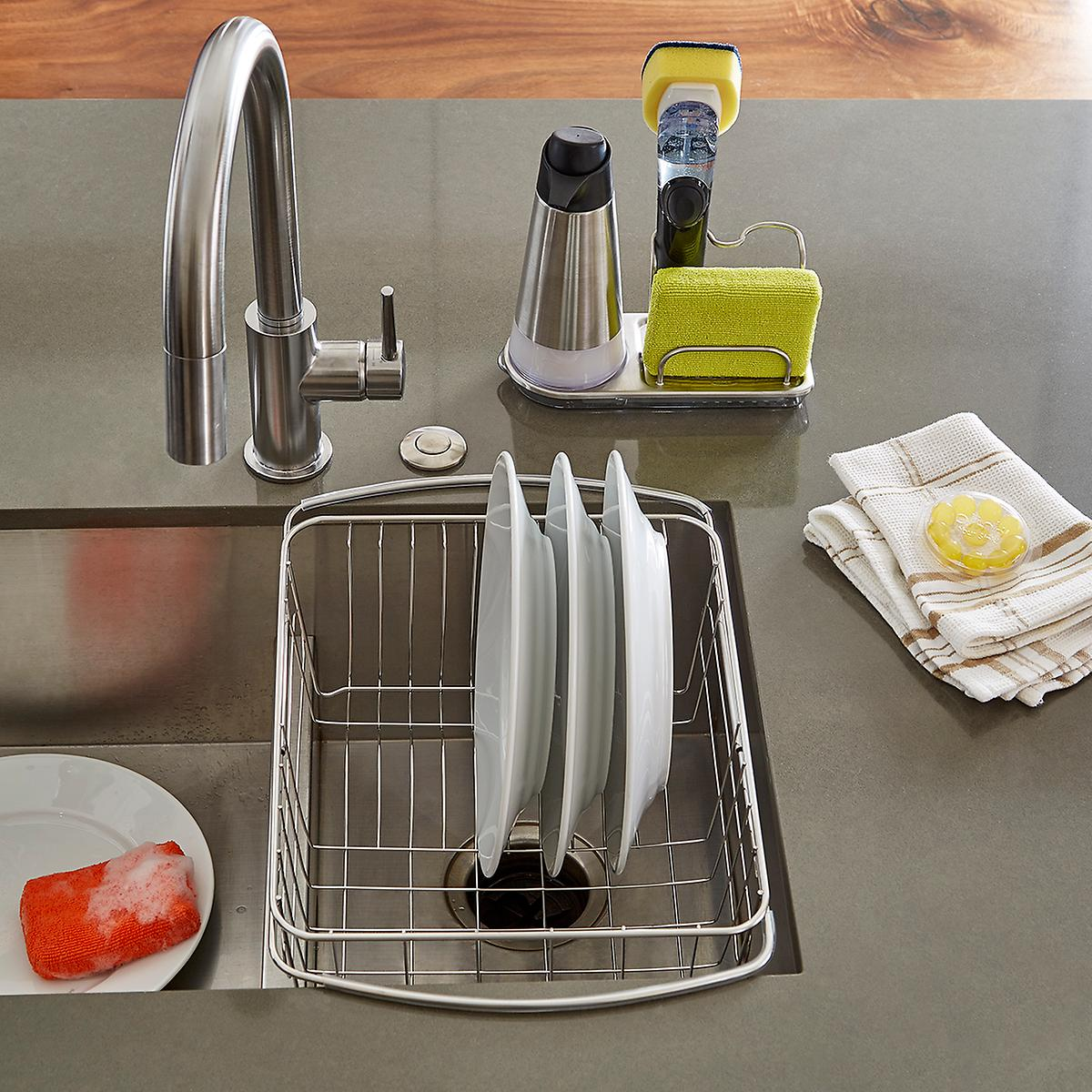 oxo stainless steel sink organizer the container store. Black Bedroom Furniture Sets. Home Design Ideas