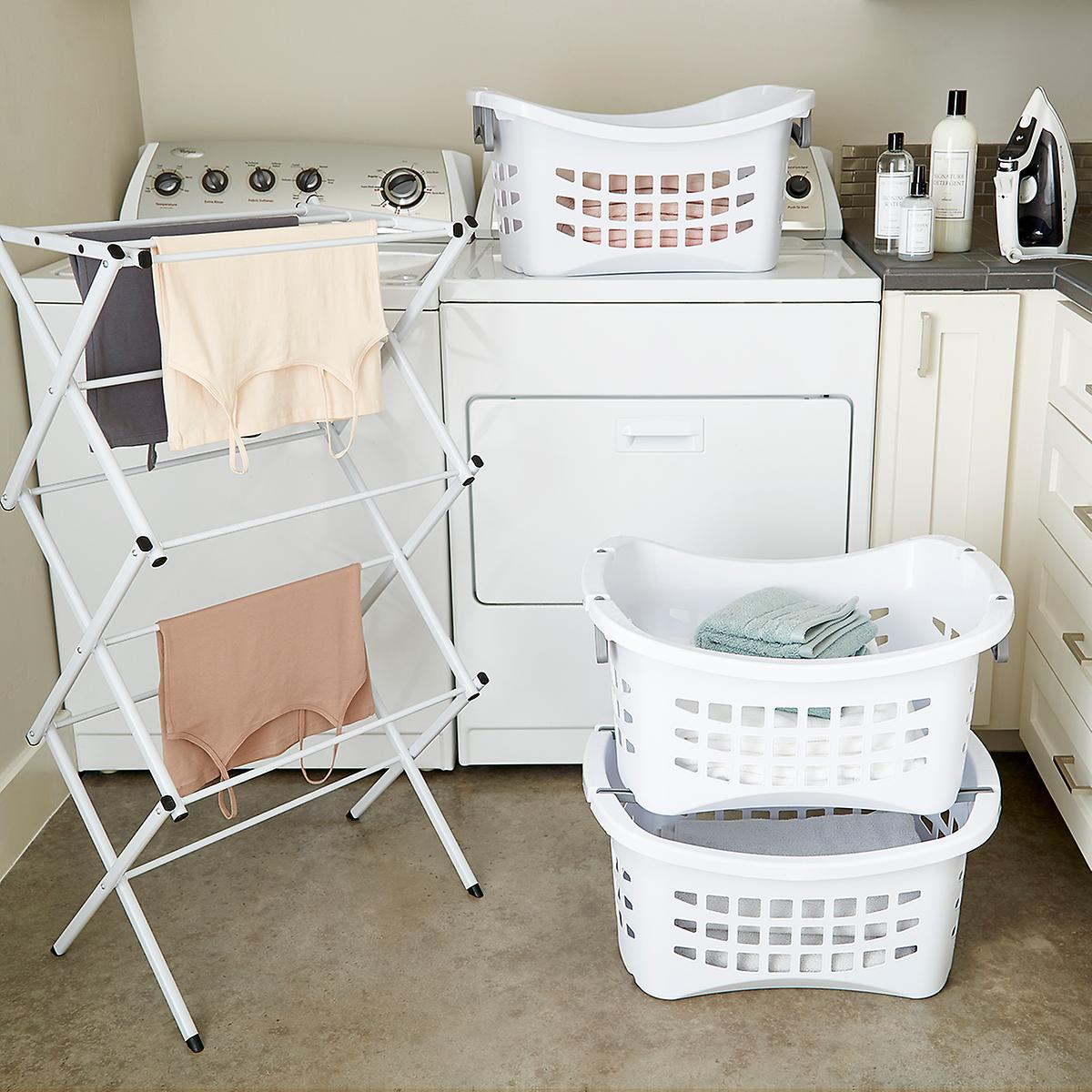 Attractive White Stackable Laundry Basket with Grey Handles | The Container Store GA99