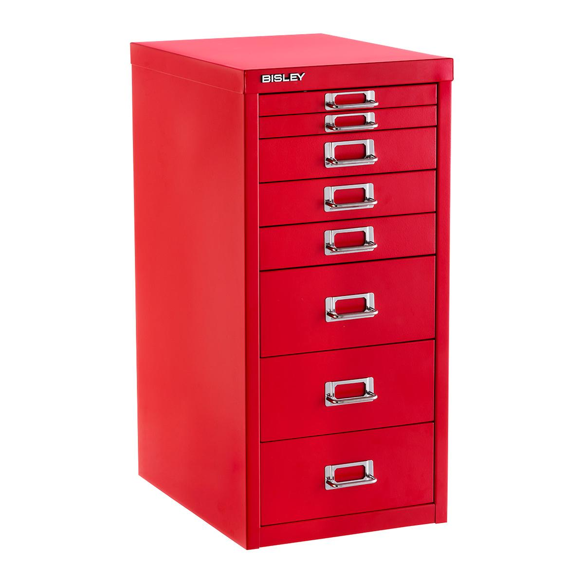 Bisley Red 8-Drawer Collection Cabinet