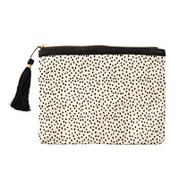 Natural & Black Dots Canvas Pouch