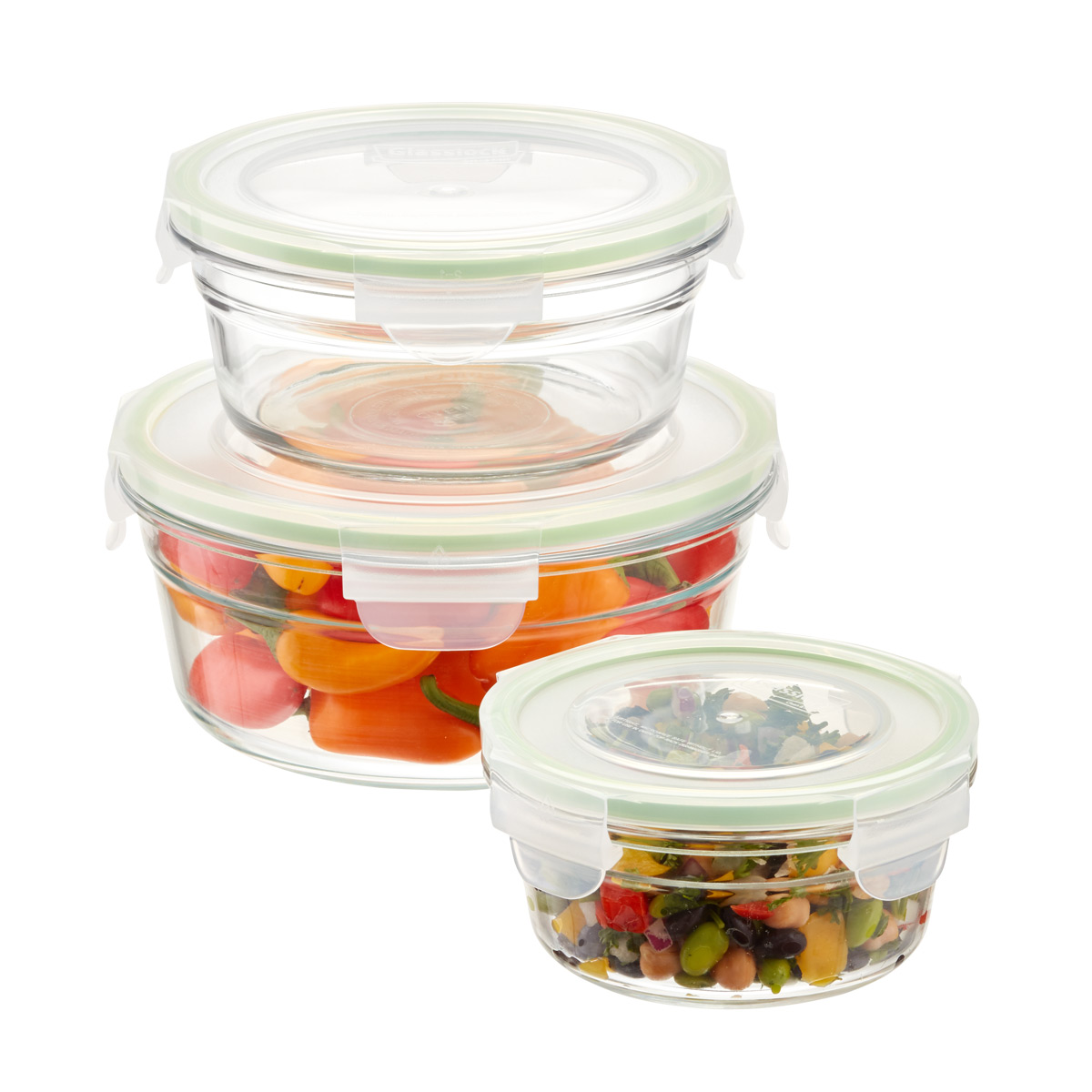 Glasslock Round Food Containers with Lids
