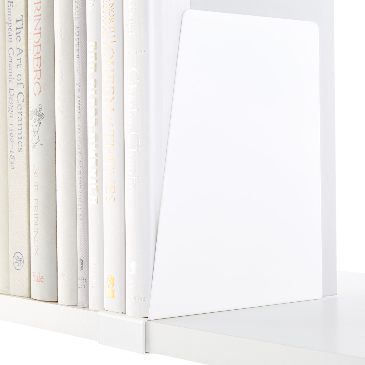 White Elfa Solid Shelf Book Supports