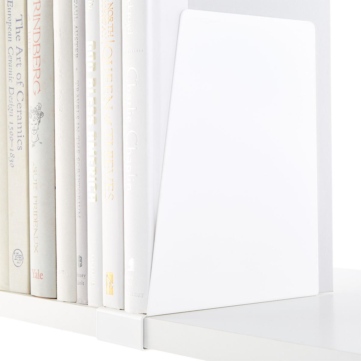 White Elfa Solid Shelf Book Supports